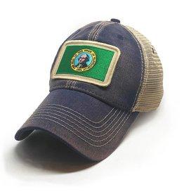 S.L. Revival Co. Washington Flag Patch Trucker Hat, Navy