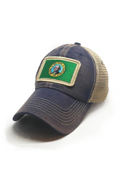 Washington Flag Patch Trucker Hat, Navy