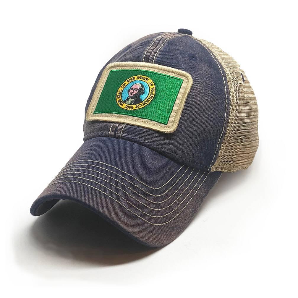 Washington Flag Patch Trucker Hat, Navy-3