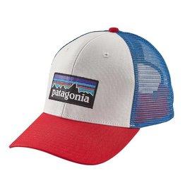 Patagonia P-6 Logo Trucker Hat, White w/Fire