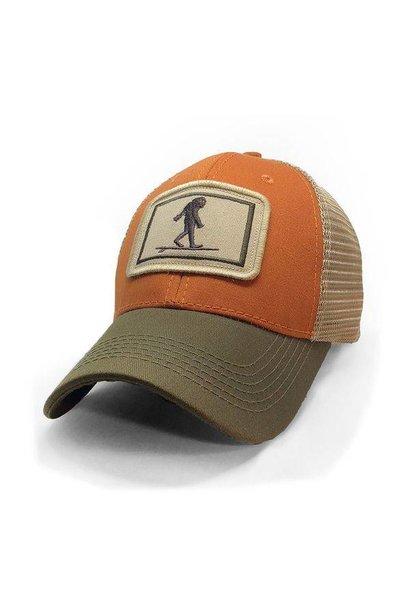 Surfing Sasquatch Trucker Hat, Structured, Burnt Orange