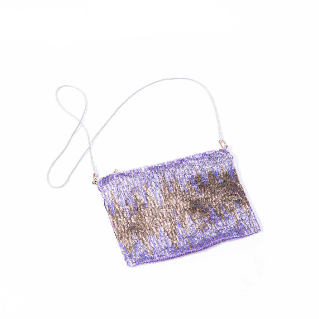 Lyell Violet/ Gold Hand Sequinned Purse