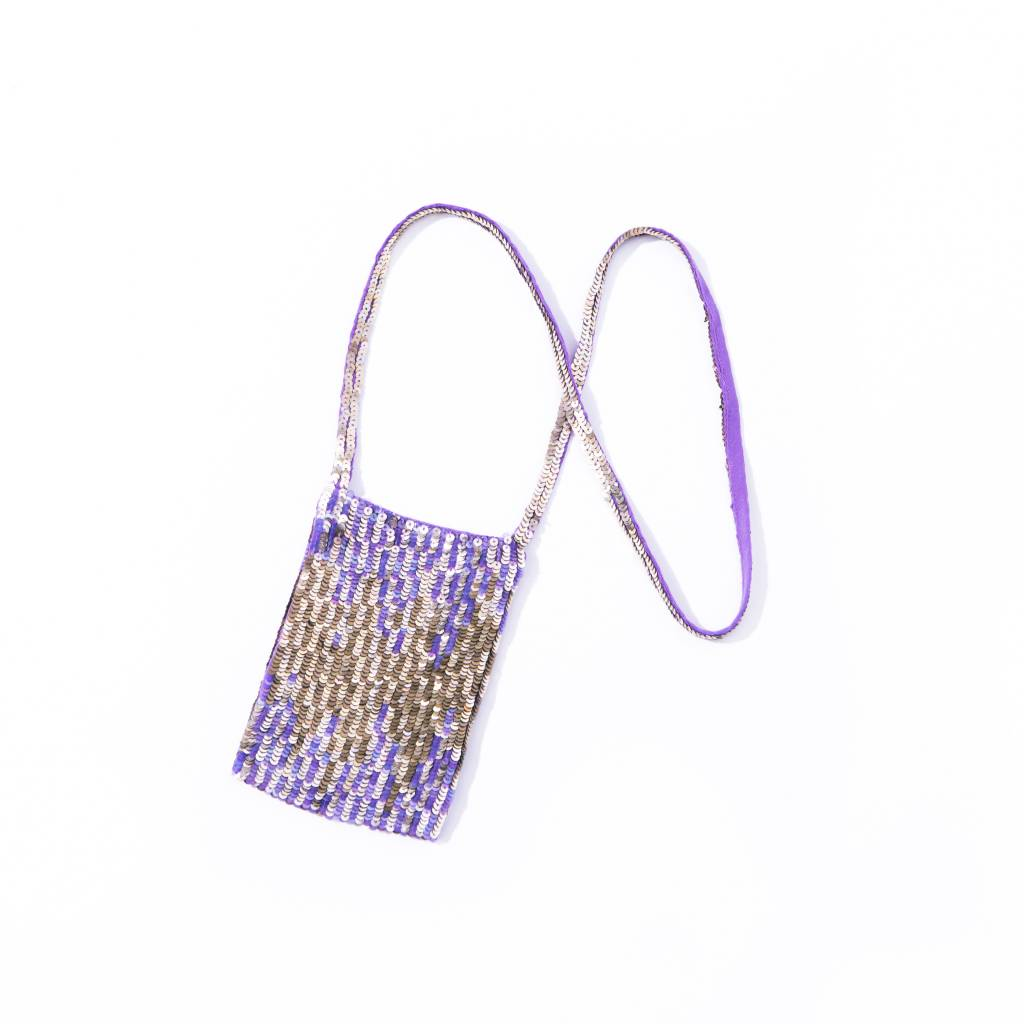 Violet/ Gold Sequinned Cell Phone Neck Pouch