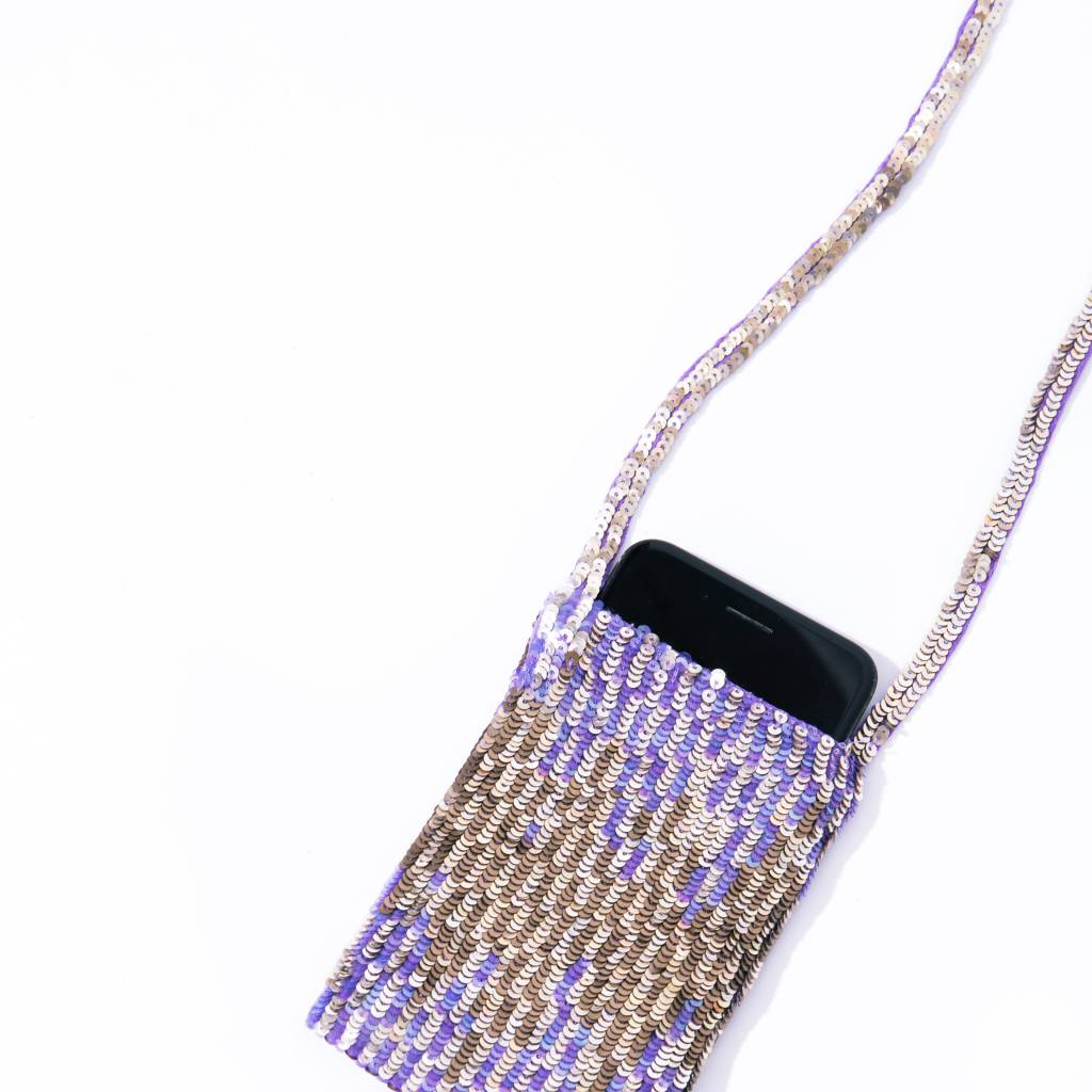 Lyell Violet/ Gold Sequinned Cell Phone Neck Pouch