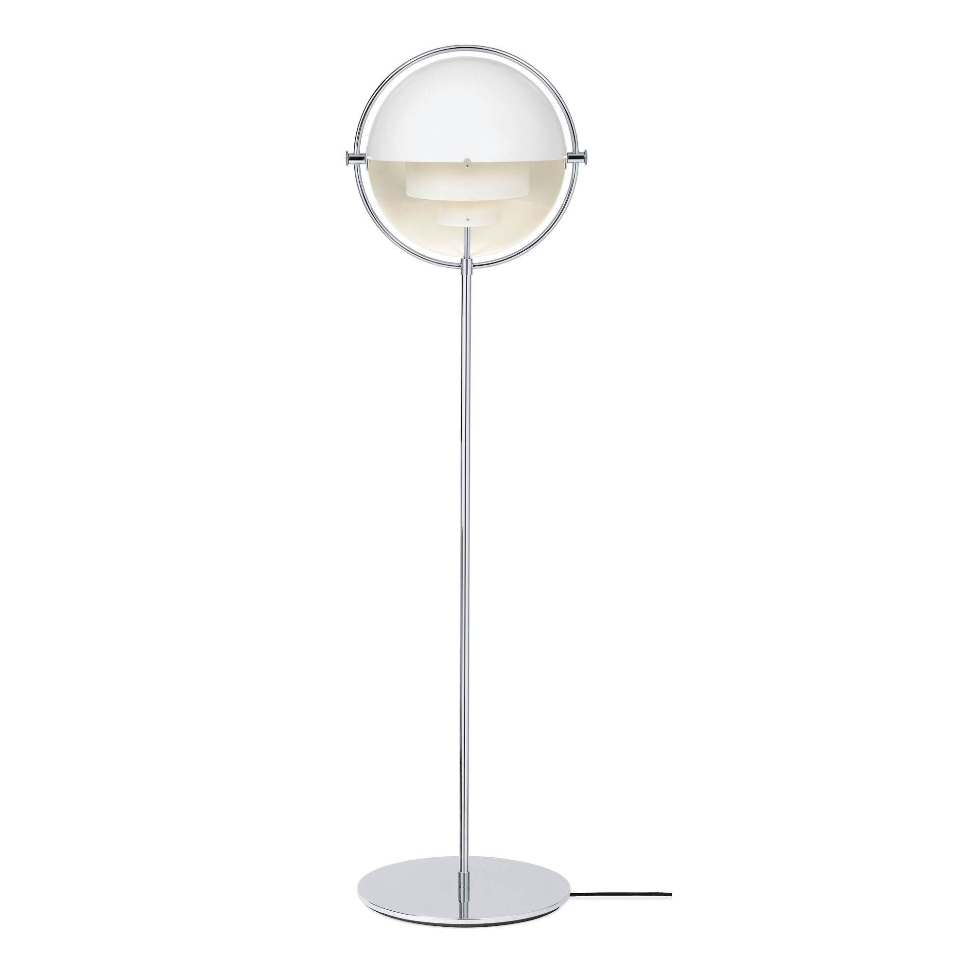 Gubi Multi-Lite Floor Lamp, Chrome Base, White Semi Matt Shade, US