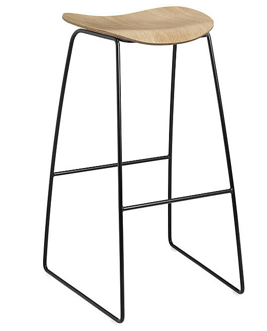 Gubi 2D Bar Stool - Un-upholstered - 75 cm - Sledge base