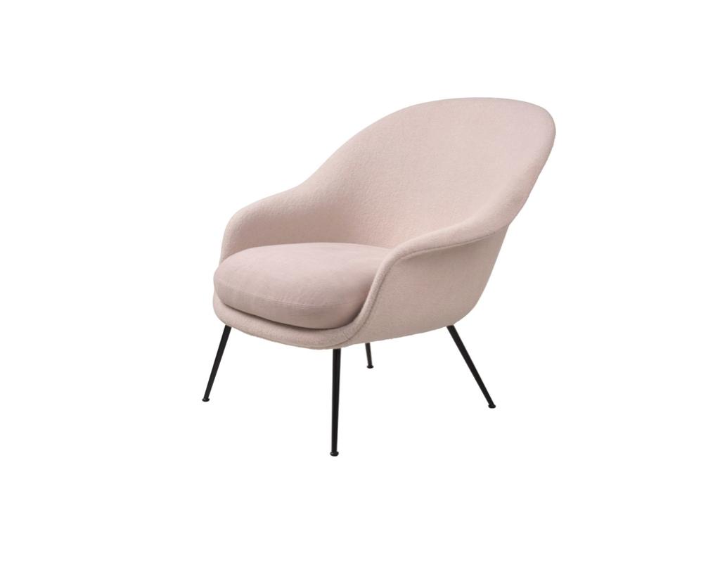 Gubi Bat Lounge Chair- Group 3-  Black Matt Conic Base- Rose