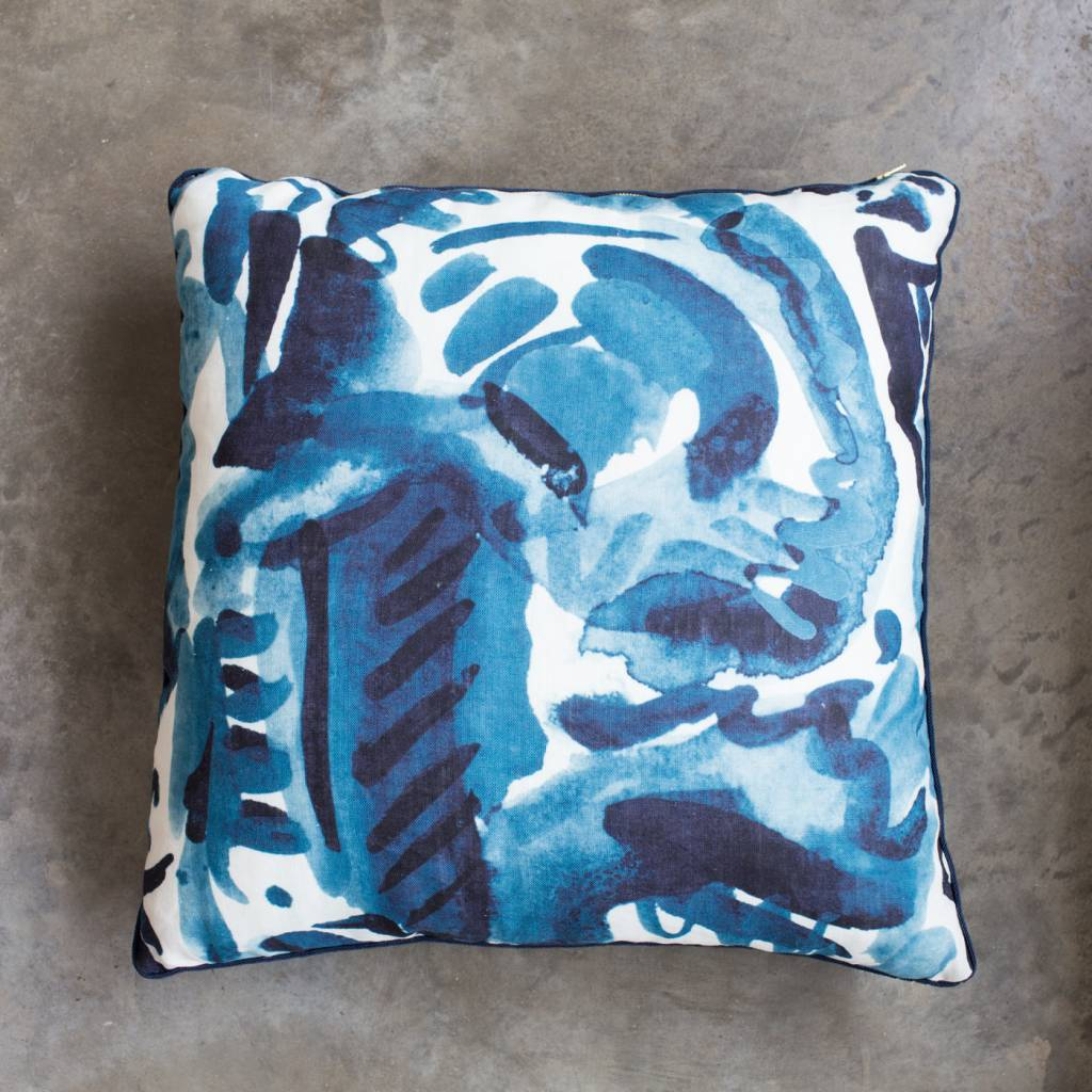 "electra eggleston Havana Azul 22""Pillow with Dark Blue Twill Piping"