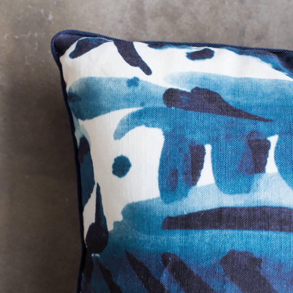 "electra eggleston Havana Azul 22""Pillow with Dark Blue Twill Piping"