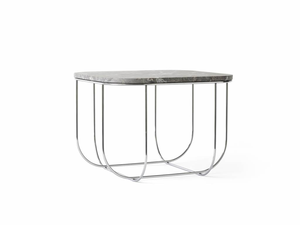 Menu Cage Table  Chrome/Grey Marble