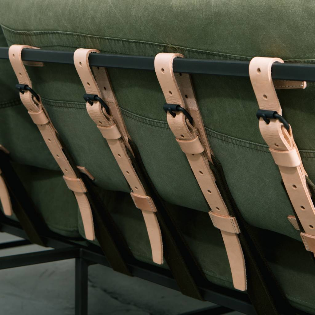 Stephen Kenn Inheritence Collection Love Seat, Canvas Military Fabric