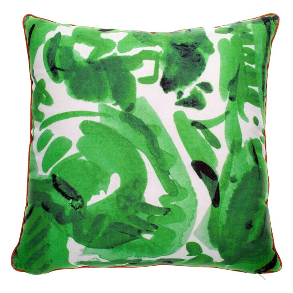 "electra eggleston Havana Verde 22"" Pillow with Red Twill Piping"