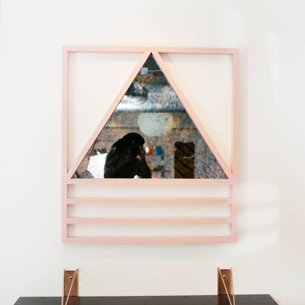 Alex Drew & No One Simplex Hydrangea Mirror, Pink Washed Ash & Antiqued Mirror