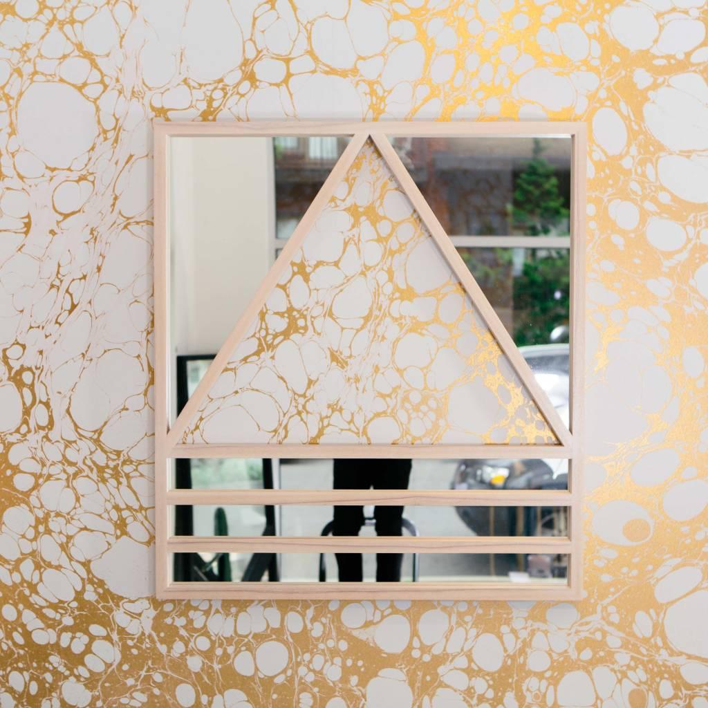Alex Drew & No One Reverse Simplex  Mirror, Pink Washed Ash with Antiqued Mirror