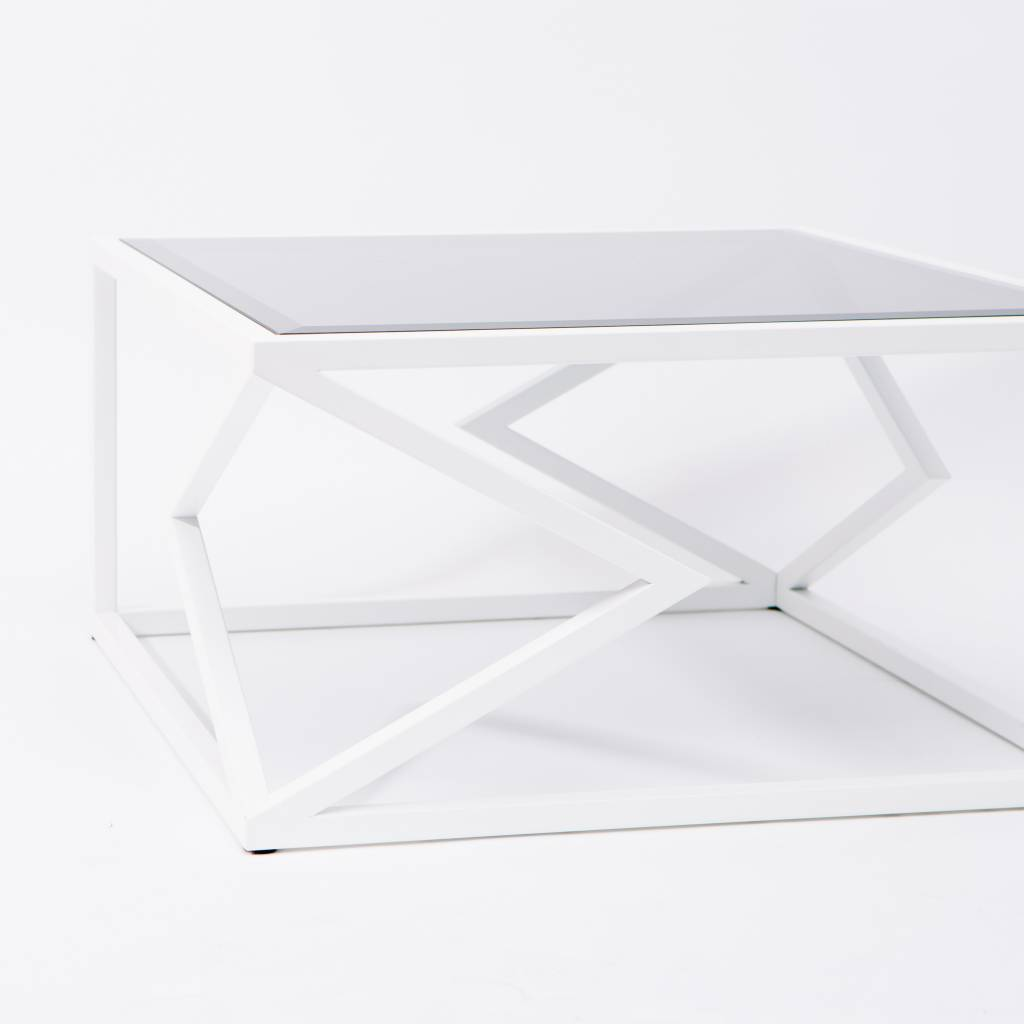 Alex Drew & No One Two Diamonds Cocktail Table, White Powder Coated Steel & Smoked Glass