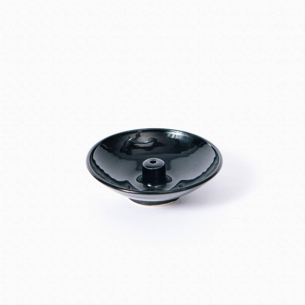 Shoyeido Ceramic Wheel Incense Burner, Obsidian