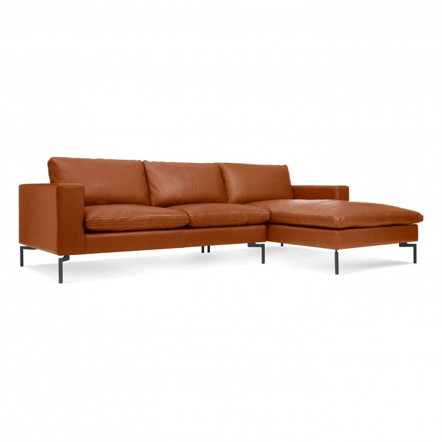 Blu Dot New Standard Sofa W/ Right Arm Chaise Leather