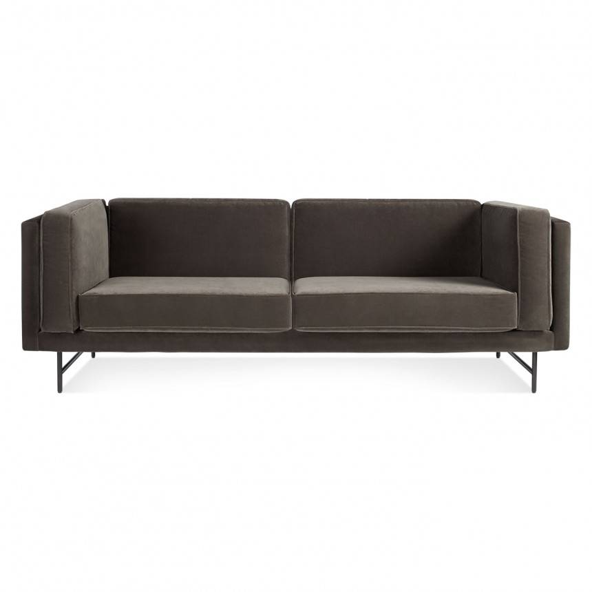 Blu Dot Bank Mink Velvet Sofa