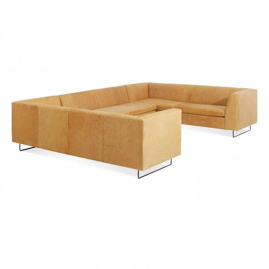 Blu Dot Bonnie and Clyde U-Shaped Leather Sectional Sofa