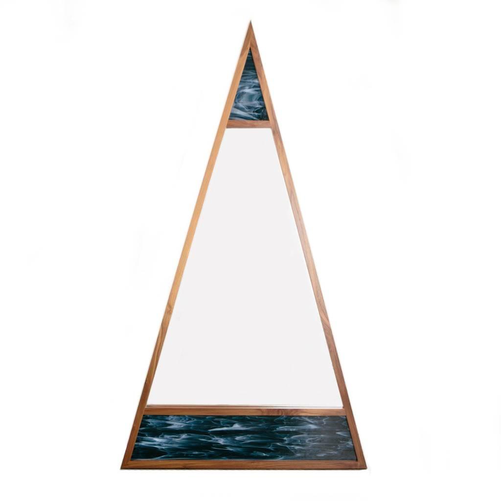 Alex Drew & No One Scale Mirror, Walnut with Blue Stained Glass