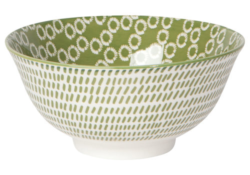 DANICA BOWL STAMPED GREEN RINGS