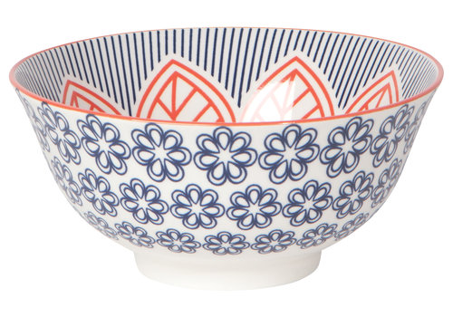 DANICA BOWL STAMPED 6INCH RED FLORAL