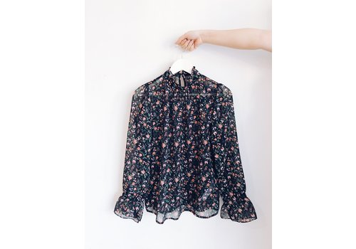 SOAKED IN LUXURY BLOUSE FLORIA- NOIR