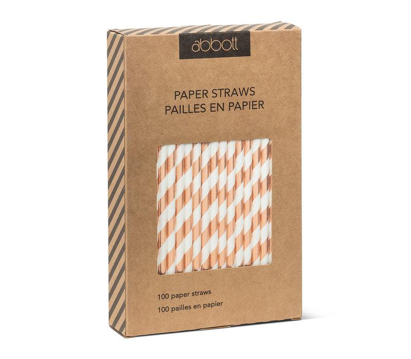 ENS. DE 100 PAILLES- BLANC & ROSE GOLD