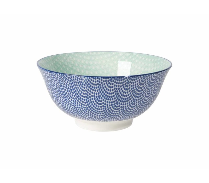 BOWL STAMPED BLUE WAVES/AQUA