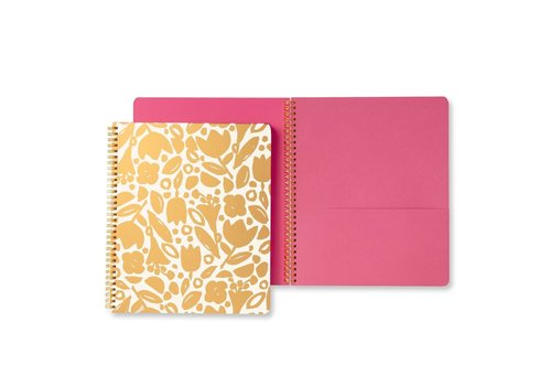 KATE SPADE CAHIER DE NOTES À SPIRALES - GOLDEN FLORAL