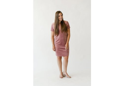 ROSE MATERNITÉ ROBE INTRIGUE VELOURS - ROSE