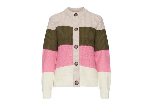 B.YOUNG *DERNIÈRE CHANCE* CARDIGAN MARGOT RAYÉ OLIVE ET ROSE - SMALL