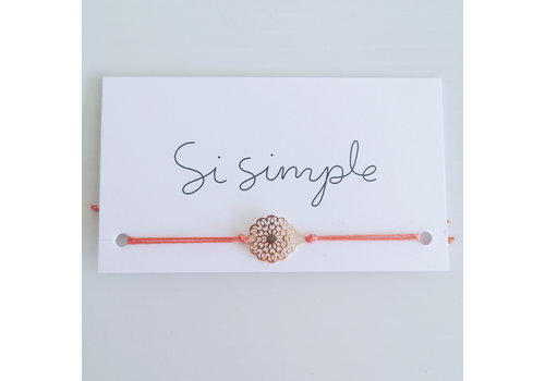 SI SIMPLE BRACELET FLEUR - ROSE GOLD/CORAIL