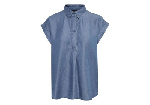 SOAKED IN LUXURY BLOUSE MANCHE COURTE DARIANA - BLEU DENIM