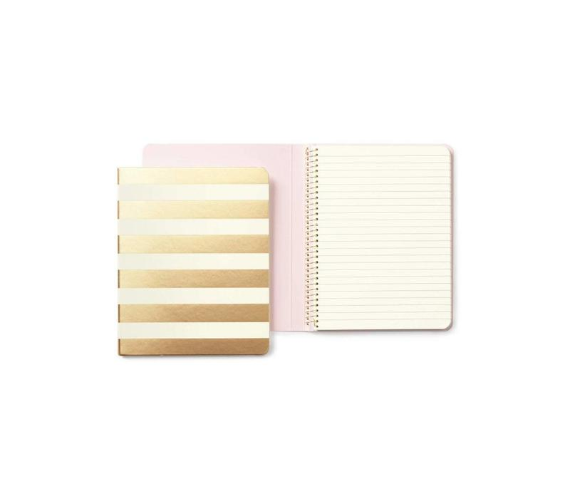 SPIRAL NOTEBOOK GOLD STRIPE