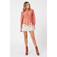 BLOUSE CARRINGTON FRINGE - CLAY
