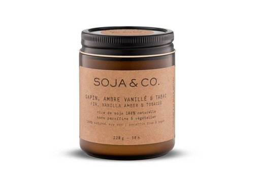 SOJA AND CO CHANDELLE SAPIN, AMBRE VANILLE & TABAC - 8 OZ