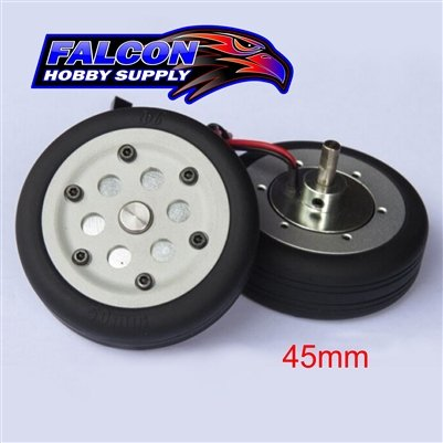 JP Hobby JPHBR0445 Electric Brake Wheels (2) with Controller and 45mm tires - 4mm axle JP Hobby