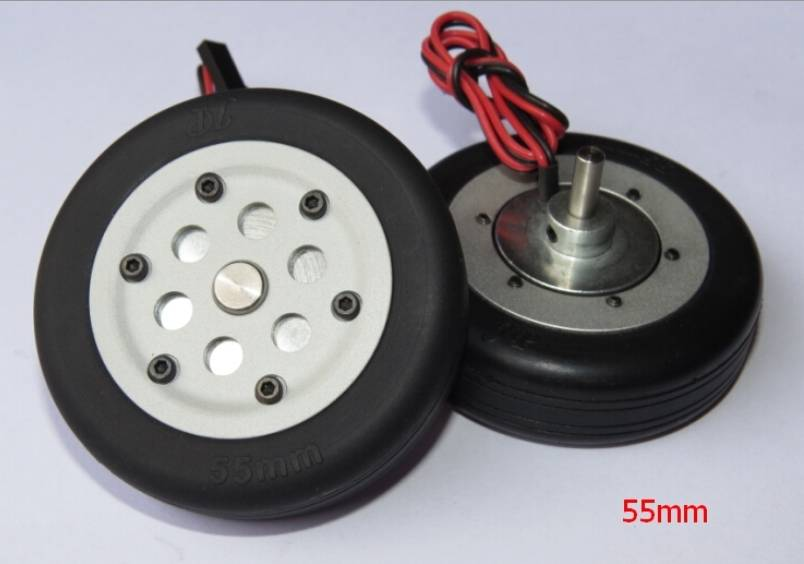 JP Hobby JPHBR0455 Electric Brake Wheels (2) with Controller and 55mm tires - 4mm axle JP Hobby