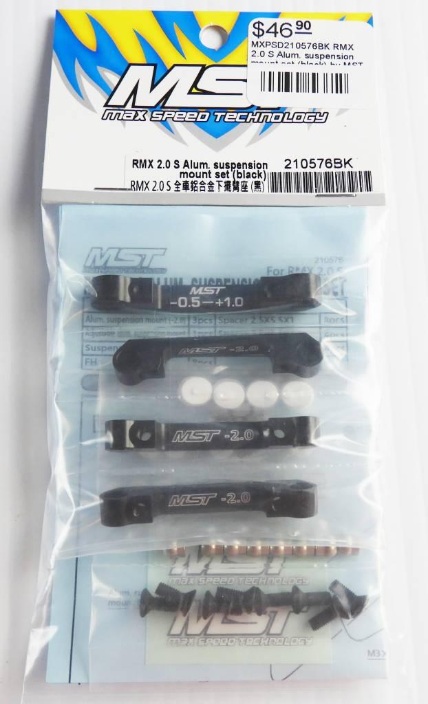 MST MXPSD210576BK RMX 2.0 S Alum. suspension mount set (black) by MST