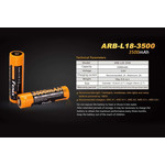 Fenix Battery Rechargeable 18650 3.6V 3500 Mah