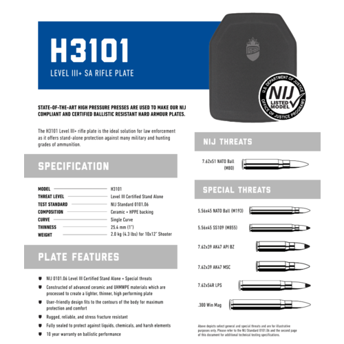 PRE Labs Inc. H3101 Level III + SA Rifle Plate - Side Plate