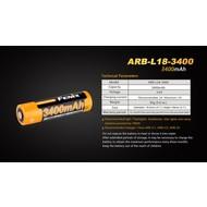 Fenix ARB-L18-3400 Rechargeable Battery 18650 3.6V 3400 Mah