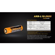 Fenix Battery Rechargeable 18650  3.6V 2600 Mah