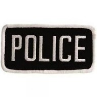 Black Hawk Police Patch White/ Black With Hook and Loop