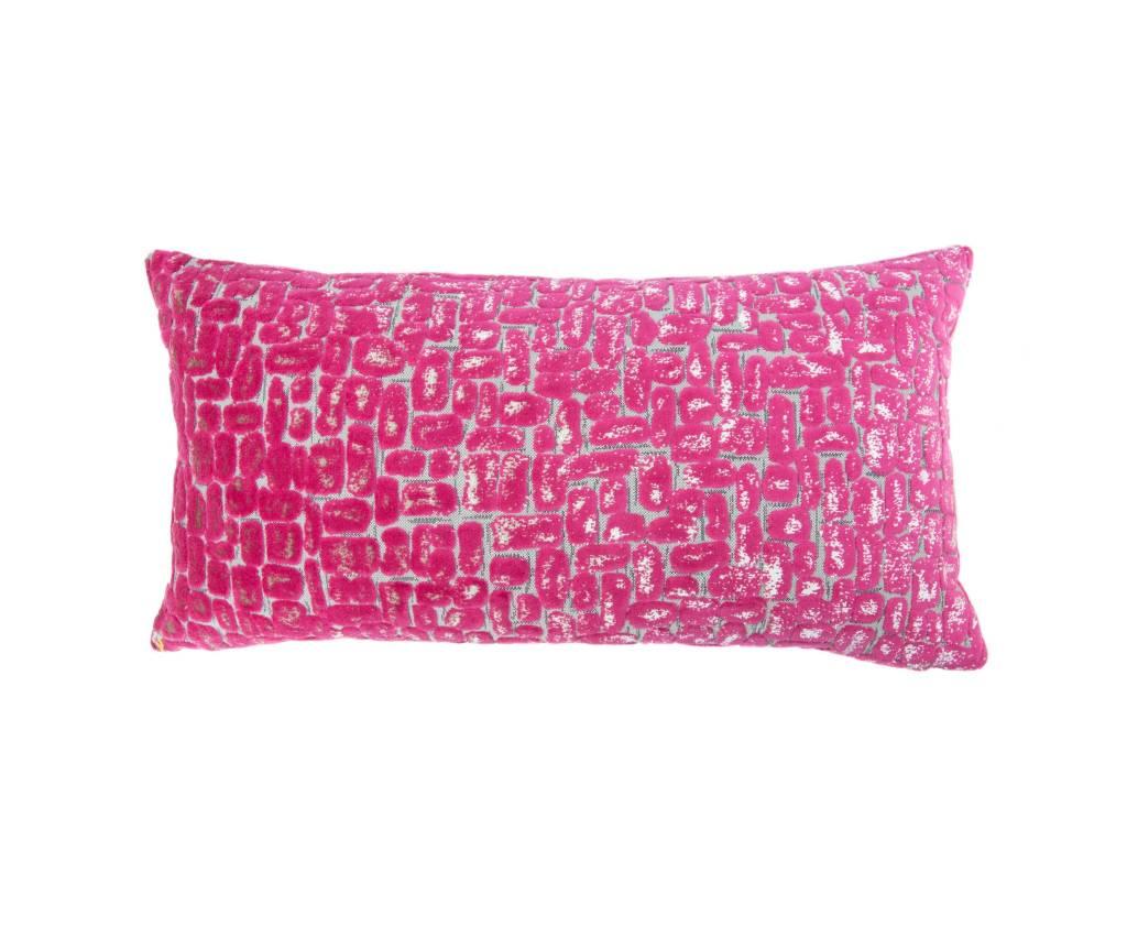 Kreatelier Raised Velvet Pillow in Pink - 11 x 21in