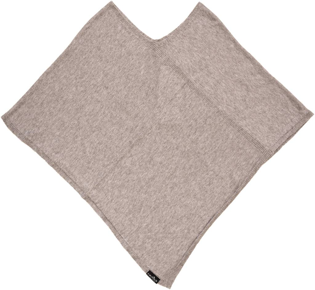 Fraas Triangle Ribbed Poncho Taupe