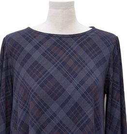 Nally and Millie Plaid Peasant Sleeve Ruffle Top Navy