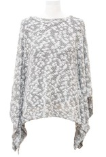 Nally and Millie Brush Texture Poncho Top Black White