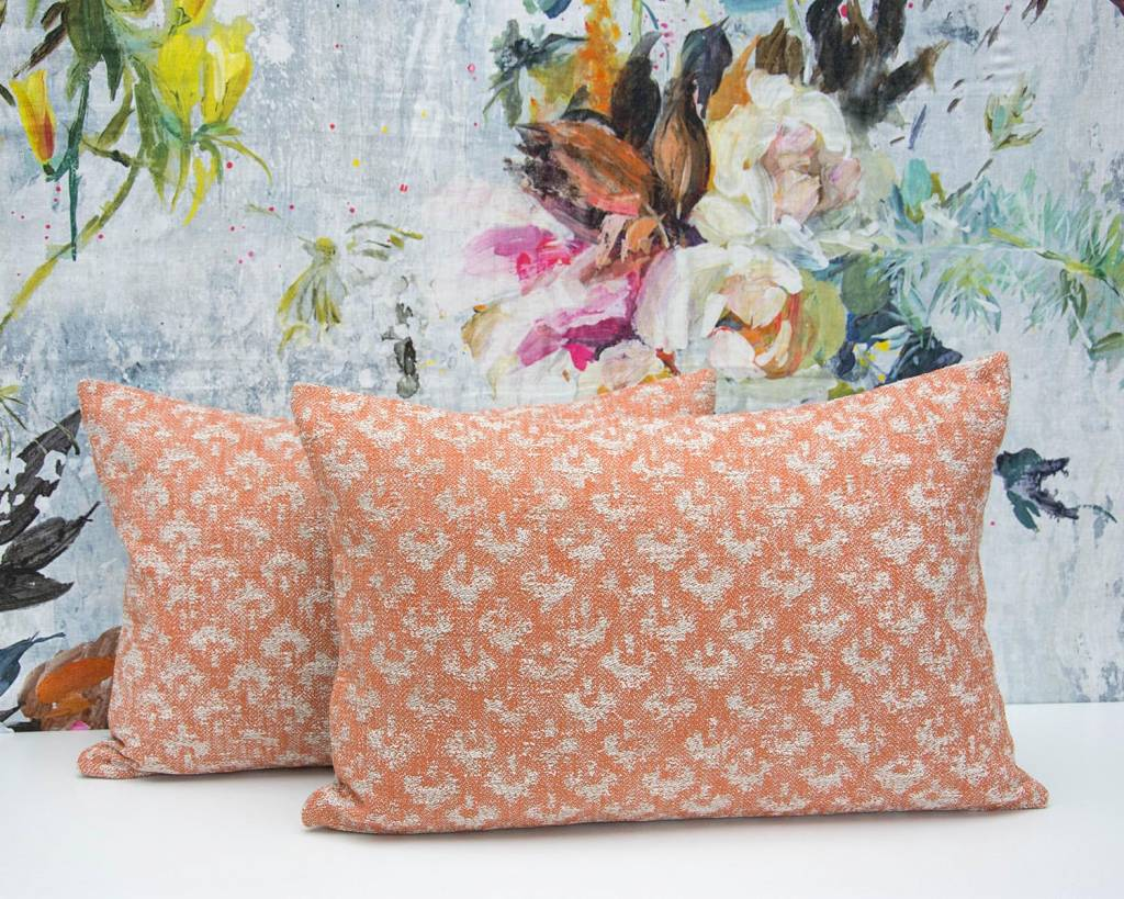 Kreatelier Woven Geometric Pillow in Orange - 15 x 22in